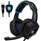2017 New Updated SADES Spirit Wolf 7.1 Surround Stereo Sound USB ComputerGaming Headset with Microphone,Over-the-Ear Noise Isolating,Breathing LED Light For PC Gamers (Black Blue)