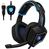 New Updated SADES Spirit Wolf 7.1 Surround Stereo Sound USB ComputerGaming Headset with Microphone,Over-the-Ear Noise Isolating,Breathing LED Light For PC Gamers (Black Blue)