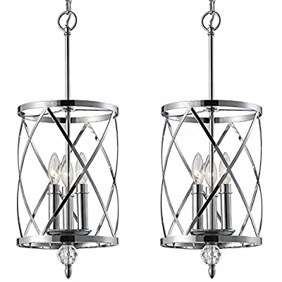 """Canarm ICH172B03CH10 Vanessa 3-Light Chandelier, Chrome (2) - The Vanessa features a spiraling, triangular geometric design of chrome bands around 3 candlelabra style lights with crystal/chrome finial Chrome finish with crystal - Uses 3 60W C bulbs (Not included) Dimensions: 25"""" H 9 3/4"""" W 9 3/4"""" D - kitchen-dining-room-decor, kitchen-dining-room, chandeliers-lighting - 51VzMFNXiGL. SS400  -"""