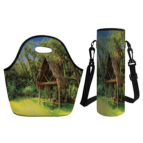 3D Print Neoprene lunch Bag with Kit Neoprene Bottle Cover,Tiki Bar Decor,Tiki Hut in Dreamy Fantasy Forest Tropical Island Wildlife Greenery,Green Blue Brown,for Adults Kids ()