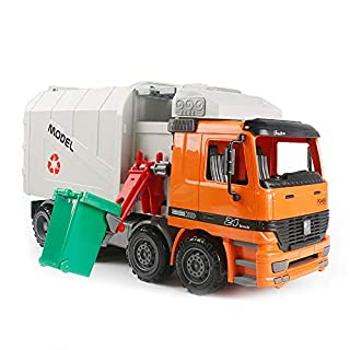 heaven2017 Plastic Diecast Dump Truck Vehicle Recycling Garbage Truck with Trush Can Kids Toy
