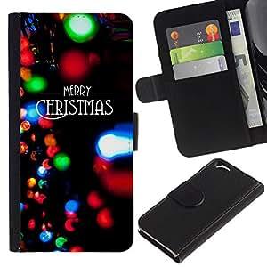 KingStore / Leather Etui en cuir / Apple Iphone 6 / Luces de Navidad Negro Invierno de Navidad;