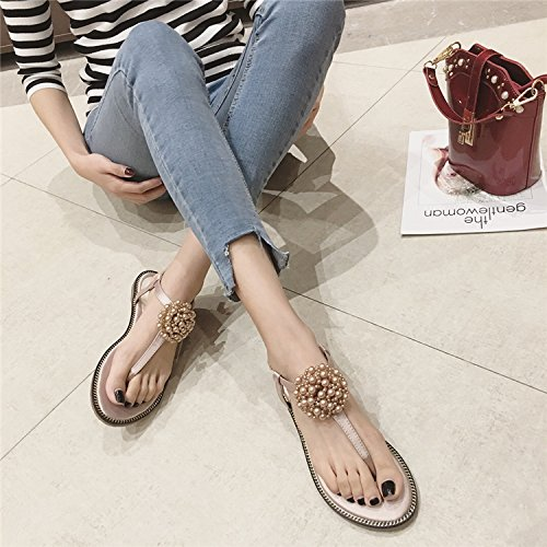 Pink Female Bohemia Beach JUWOJIA Sandals Beaded Sandals w0ZUpq4T