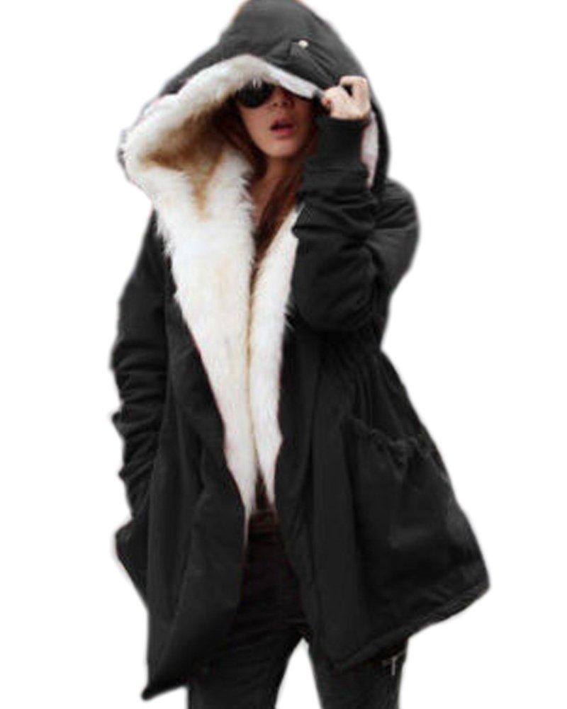 Roiii Women Thicken Warm Winter Coat Hood Parka Overcoat Long Jacket Outwear Black Medium Black Medium by Roiii (Image #1)
