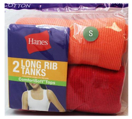 Hanes 2 Pack Womens Red and Orange Long Rib Tanks (Size Small) (Tank Long Rib)