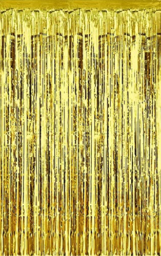 Metallic 3 ft X 8 ft. Gold Foil Fringe Curtains Door Window Curtain Party Decoration- (Gold, 3' X 8'- Pack of 3)