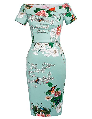 Belle Poque Damen Vintage Rockabilly Kleid 1950er Jahre Bodycon Pencil Kleid