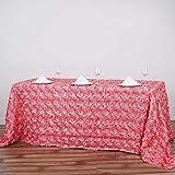 Efavormart 90''x132'' Rectangle Table Cover ROSE QUARTZ Wholesale Grandiose Rosette 3D Satin Tablecloth For Wedding Party Event