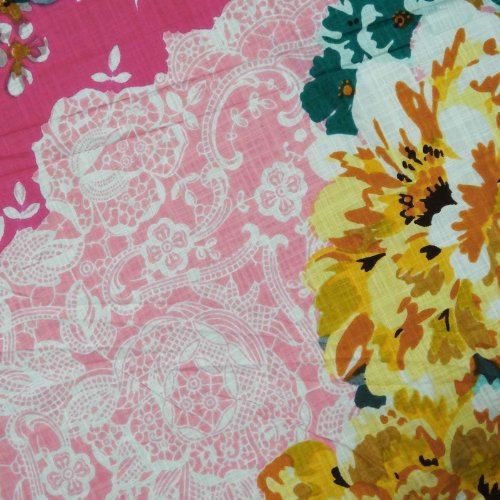 """Cotton Fabric Voile 43""""Width Pink Floral Print Quilt Bedspread Art India Sewing Fabric By 1 Peice"""