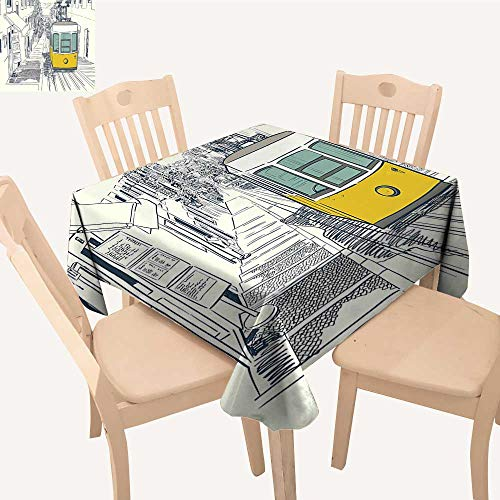UHOO2018 Square/Rectangle Indoor and Outdoor Tablecloth Style City Scenery Street in Town Lisb Modern Work COC ut Mustard Restaurant Party,23 x -