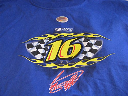 NASCAR Vintage Classic Greg Biffle #16 Patriotic National Guard Fusion Image Blue Two Sided Crew Neck Shirt Short Sleeve Size Extra Large XL (National Blue Guard)