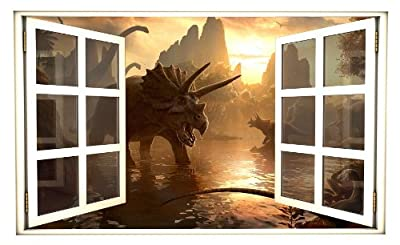 """24"""" Window Scape Instant View Dinosaurs 1 Wall Decal Graphic Sticker Mural Home Kids Game Room Office Art Decor"""