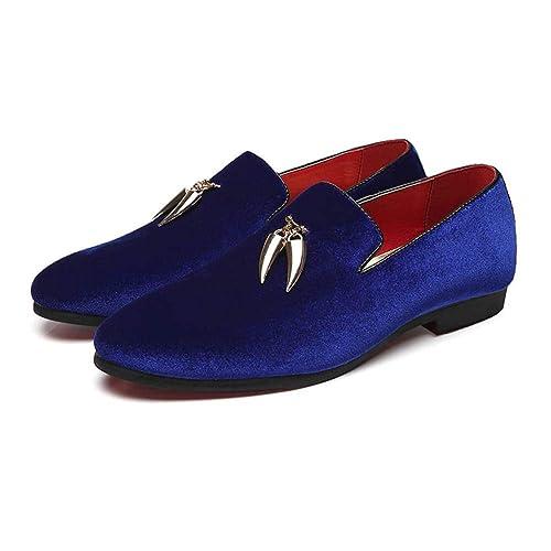 NXY De los Hombres Moda Terciopelo Mocasines Zapatillas de Fumar con Oro Diente de Tiburón Borla Boda Zapatos de Vestir Ponerse Zapatos de conducción: ...