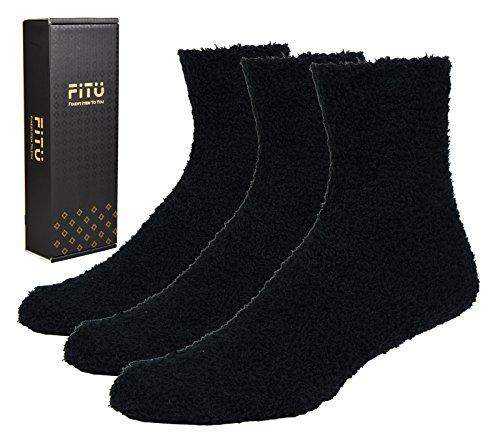 Fitu Men's Soft Warm Cozy Fuzzy Socks 3-pack With Gift Box (Black) One Size Black - Fleece Socks Men