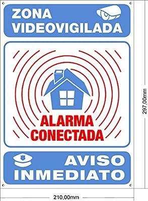 Cartel disuasorio Interior/Exterior Premium y Ultra-Resistente metálico, Cartel disuasorio Alarma conectada Aviso policía, 30x21 cm