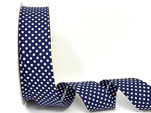 3M Navy Blue Polka Dot Bias Binding Tape 30mm. Useful in many sewing, bunting and craft projects. (Cut from roll) The Little Button Shop