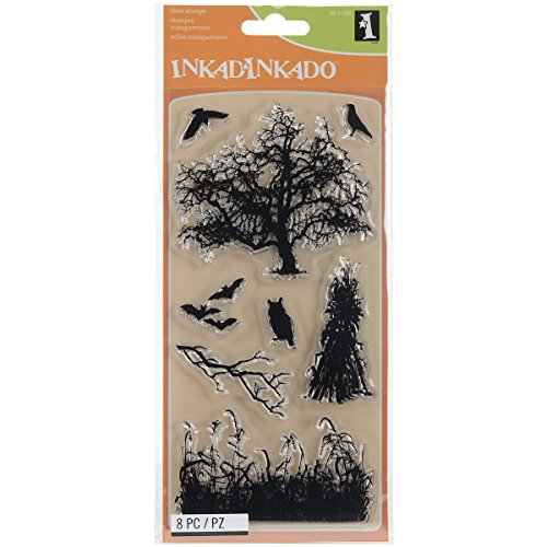 Inkadinkado Black Haunted Fields Unmounted Clear Rubber Stamp Set for Cards and Scrapbooking, 4'' L x 8'' H, 8 pc.]()