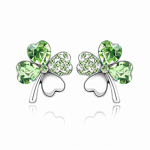 Leaf Earrings Diamond Cut - Silver Swarovski Elements Crystal Diamond Accent Four Leaf Clover Flower Earrings Studs Set for women teenage girls, with a Gift Box, Ideal Gift for Birthdays / Christmas / Wedding--Olive, Model: X14430