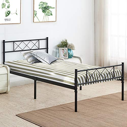 VECELO Metal Platform Bed Frame Mattress Foundation with Headboard Footboard Firm Support Easy Set up Structure, Twin, Black