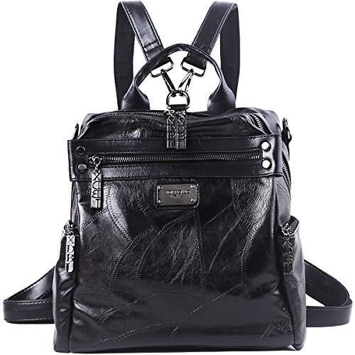 Mini Backpack Purse for Women - AB Earth Convertible Waterproof Rucksack Faux Leather Backpack for Ladies Shoulder Bags, H003 (Black)