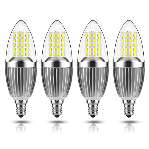 GEZEE LED Candelabra Bulb, Non-Dimmable 100-Watt Light Bulbs Equivalent, 12W LED Candle Bulbs,Daylight White 6000K Chandelier Bulbs, E12 Candelabra Base, 120V, 1200Lumens, Torpedo Shape(4 Pack)