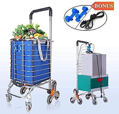 SMONTER Carrito de la compra ligero con ruedas, carrito de la compra plegable para escalera con almacenamiento más grande, marco de acero inoxidable, azul, 28 x 32 x 92 cm: Amazon.es: Hogar