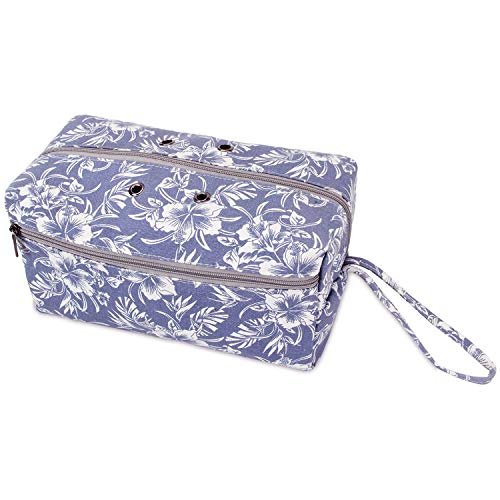 Luxja Yarn Storage Bag, Carrying Knitting Bag for Yarn Skeins, Crochet Hooks, Knitting Needles (up to 10 Inches) and Other Small Accessories (Large, Flowers)