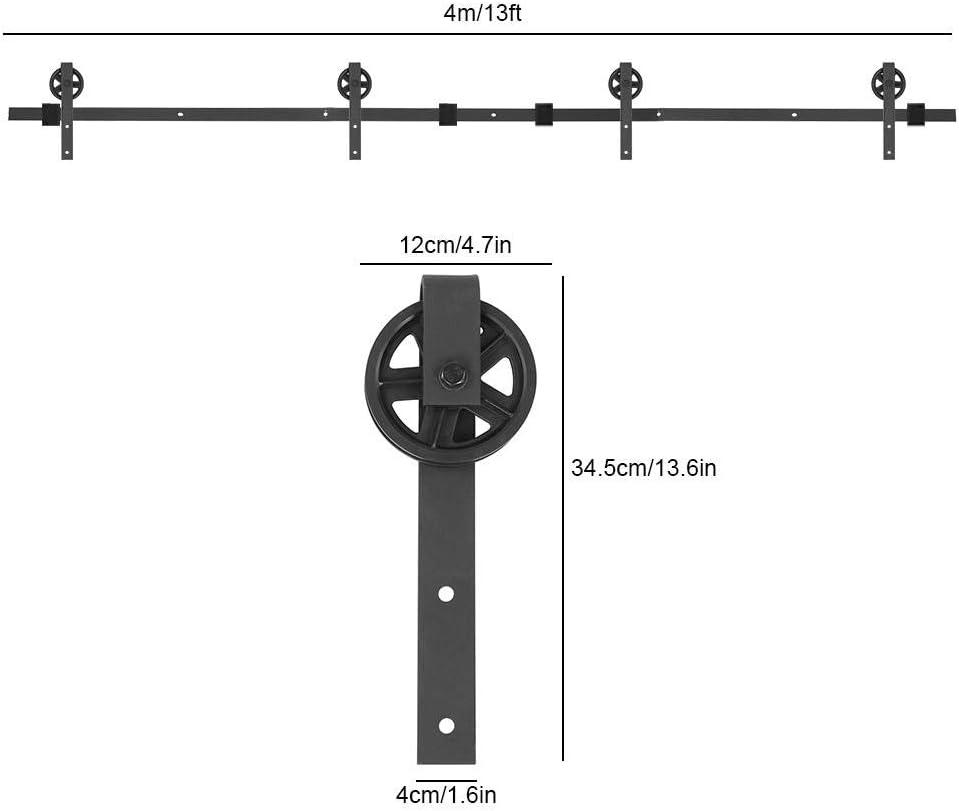 Doppia Porta Scorrevole Door Hardware Kit in Stile Rustico 13FT-396cm Binario per Porta Scorrevole Round Shaped Scorrevole Binario Ruote rulli Hardware in Acciaio al Carbonio