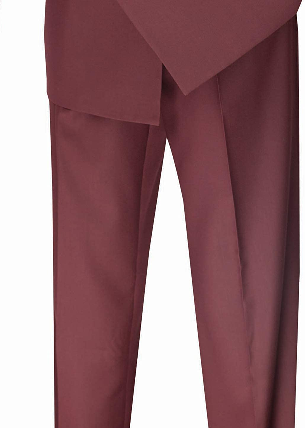 Mens Fashion Double Breasted Suit Classic Regular Fit Pleated Pants Solid Color