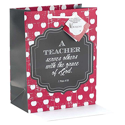 A Teacher Serves Red Apple Stripe Medium Tissue Paper and Gift Bags with Handles 3 Pack -