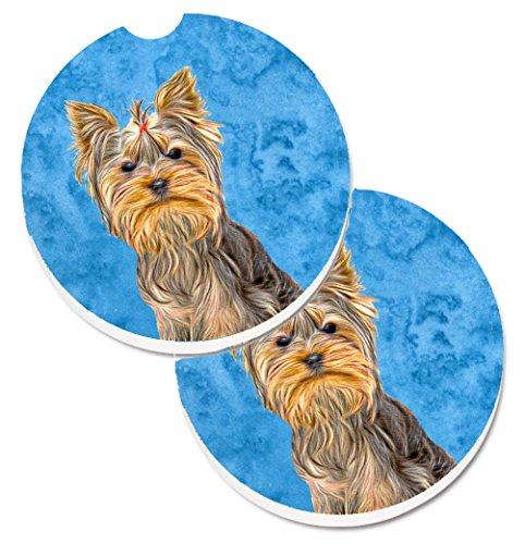 (Caroline's Treasures Blue Yorkie/Yorkshire Terrier Set of 2 Cup Holder Car Coasters KJ1227BUCARC, 2.56, Multicolor)