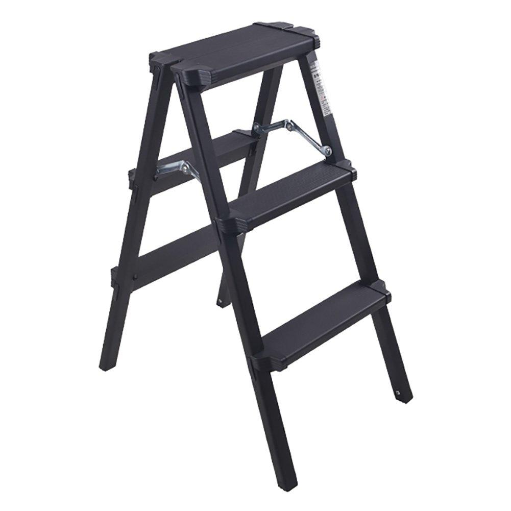 LXF ステップスツール 厚いステップスツールアルミニウム合金工学ラダーズ折りたたみ式階段屋内家庭用滑り止め (色 : Black, サイズ さいず : 3 step ladder) B07FPPXLW4 3 step ladder Black Black 3 step ladder