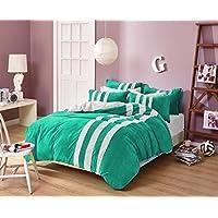 Velvet Striped Design 5 PC Reversible Bedding Set(1 Duvet Cover+4 Pillow  Cover) TWIN XL Green