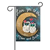 U LIFE Decorative Artist Cartoon Owls on Moon Starry Sky Garden Yard Flag Banner for Outside House Flower Pot Double Side Print Polyester 40 x 28 & 12 x 18 Inch For Sale