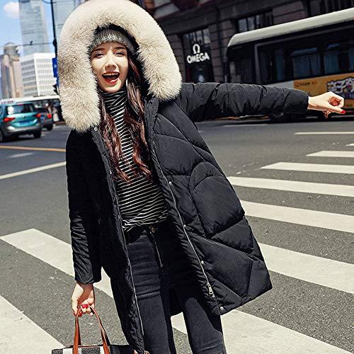 ZQQ Doudoune Femme, Nouvelle Mode Slim Col en Fourrure De Renard Duveteuse Amovible Long Et Épais Veste À Capuchon Costume De Ski,Noir,S