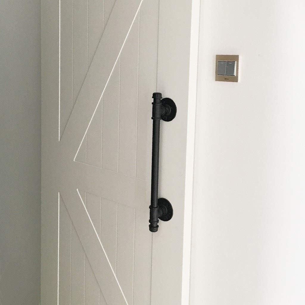 Black Barn Door Handle, Sliding Door Handles Pull Push Button Set - Door Knob Hardware for Barn Doors, Closet Doors, Garden Sheds, Interior Exterior, Round Water Pipe Design ( Size : 60cm (24 inch) )