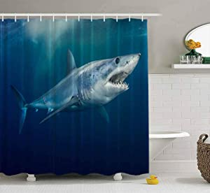 Musesh Shower Curtains,Wide Shower Curtains,78X72 Inch Shower Curtain with Hooks for Bathroom Shark Short Fin -