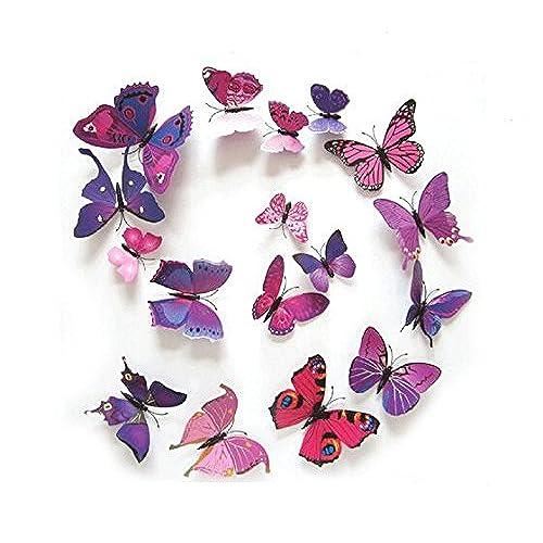 Schoolsupplies 12PCS 3D PVC Butterflies DIY Wall Sticker Home Decor
