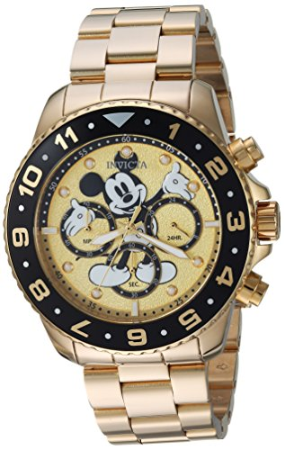 Invicta Men s Disney Limited Edition Quartz Watch with Stainless-Steel Strap, Gold, 22 Model 24955