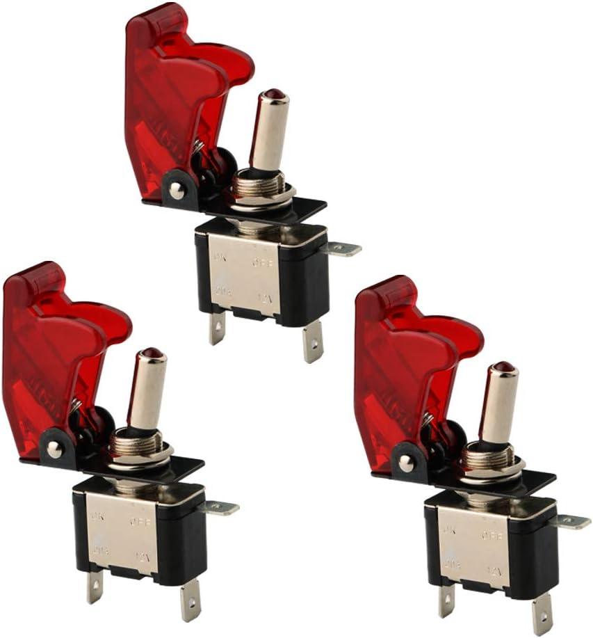 CESFONJER 3 Pcs Luz LED Interruptor de Palanca SPST, Interruptor Basculantes 12V 20A con Luz de LED y Tapa de Color Rojo para Instalar Vehiculo, Barco ect.