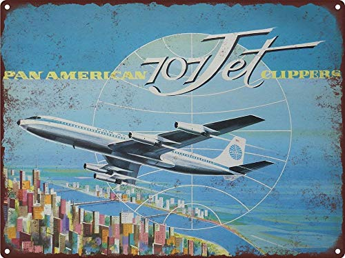 Pan American 707 - Yilooom 1960 Pan Am American Boeing 707 Jet Clippers Man Cave Metal Sign 12