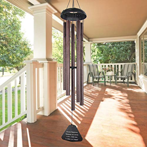 "ASTARIN Sympathy Wind Chimes Outdoor Large Deep Tone,36"" Large Wind Chimes Outdoor Tuned Relaxing Melody,Memorial Windchime Amazing Grace Personalized for Garden Decor, Bronze(A Free Card)"
