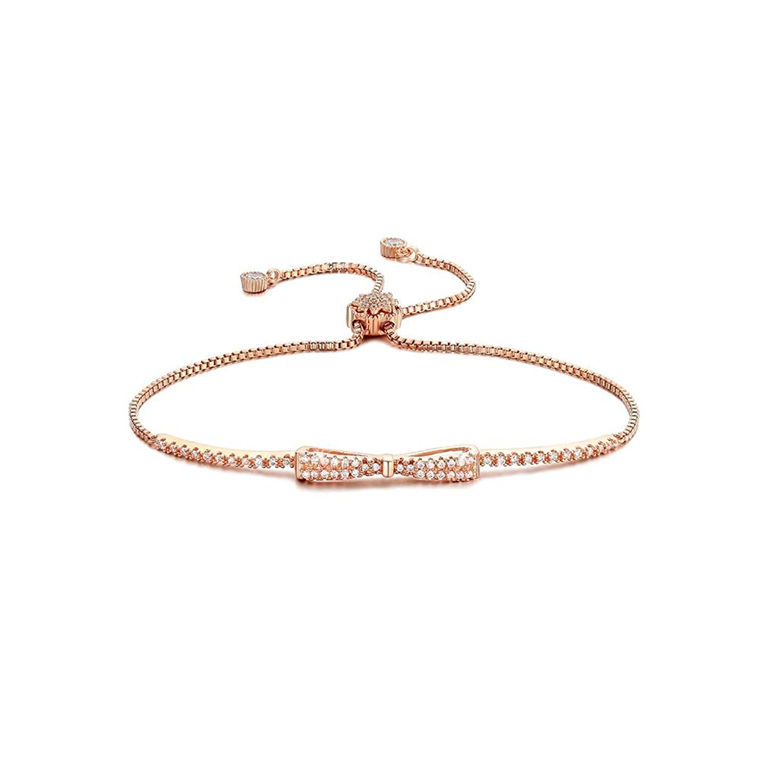 Bundle offer 18k gold plated amp white gold plated necklace 2 ring - Cute Bowknot 18k White Gold Plated Charm Bracelet Diamond Cz Paved 2 Colors