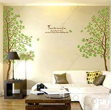 tree wall art decals graphic for home decor wall sticker twin tree - Wall Art Design Decals