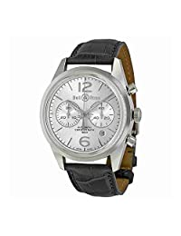 Bell and Ross Vintage Officer Silver Dial Stainless Steel Grey Leather Mens Watch BRG126-WH-ST-SCR