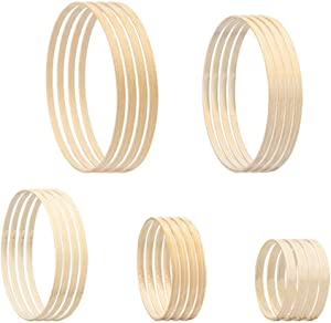 NBEADS 20 Pcs 5 Sizes Dream Catcher Rings Hoops, Wooden Bamboo Floral Hoop Craft Hoop Rings for Home Craft DIY Wedding Wreath Decor and Wall Hanging Crafts(3.8inch/4.8inch/5.6inch/7inch/7.6inch)