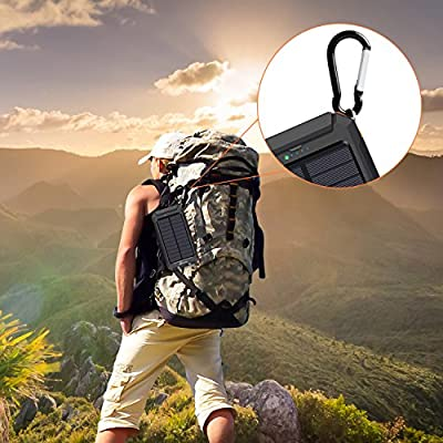 Solar Charger, Hiluckey 10000mAh Waterproof Solar Power Bank