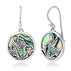 925 Sterling Silver Hummingbird Drinking Flower Nectar Abalone Shell Round Dangle Hook Earrings 1.3""
