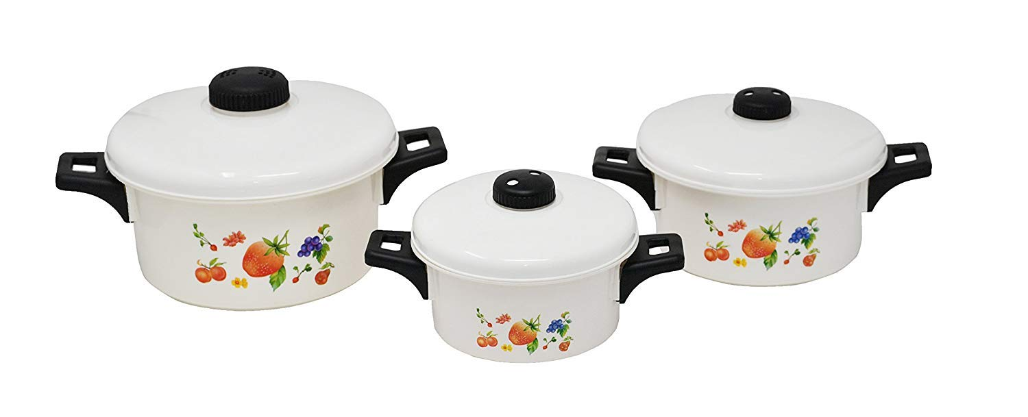 Set of 3 Microwave Cooking Pots with Handles and Vented Lids | Color Design on Front - by Home-X