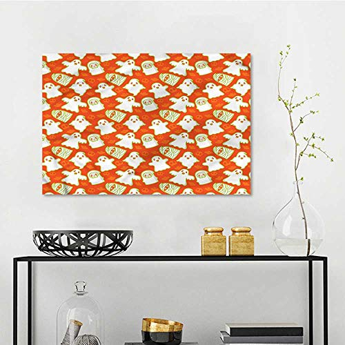 one1love Burnt Orange DIY Oil Painting Funny Halloween Ghost Easy Care Oil Painting W27 xL19